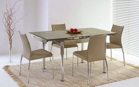 Skleněný jídelní rozkládací stůl Elton