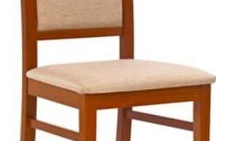 Dřevěná židle Sylwek 1 antická třešeň II - béžová (tkanina)