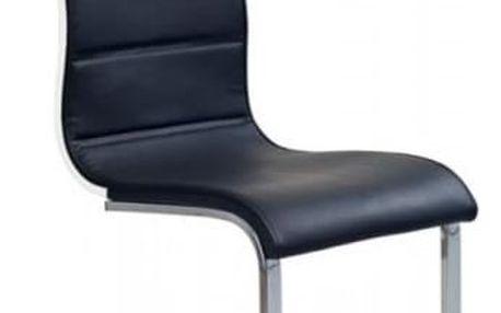 Kovová židle K104 bílá-sonoma (eko kůže)
