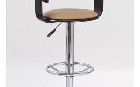 Barová židle H-8 dřevo v barvě wenge - béžová