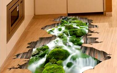 3D samolepka na podlahu - mechový potok - dodání do 2 dnů