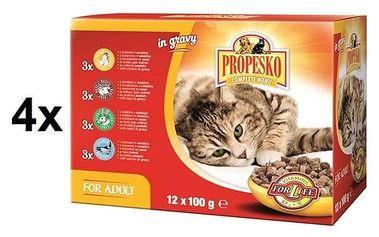 Kapsička Propesko kočka kuře + hovězí + králík + losos 4 x (12 x 100g)