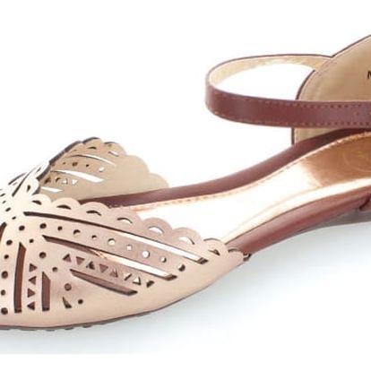 Růžovo-zlaté sandály Beatha