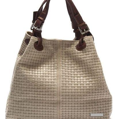 Béžová kožená kabelka Isabella Rhea Hottonia - doprava zdarma!