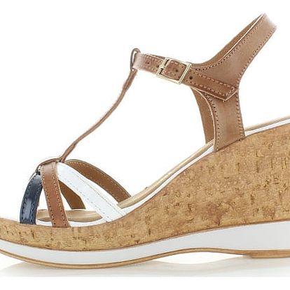 Hnědo-bílé sandály Tamaris 28347