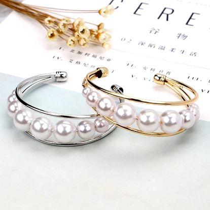 Perlový náramek ve zlaté nebo stříbrné barvě