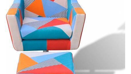 TV křeslo patchwork s podnožkou Dekorhome