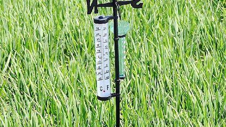 Zahradní meteostanice s teploměrem a srážkoměrem