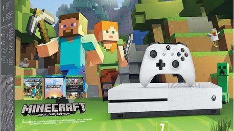 XBOX ONE S, 500GB, bílá + Minecraft - ZQ9-00047 + Gamepad Microsoft, bezdrátový, černý v ceně 1700 kč