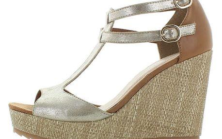 Zlato-hnědé sandály s.Oliver 28316