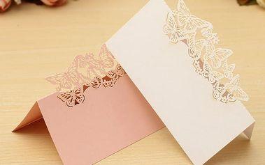 Svatební karty pro zasedací pořádek - motýlí roj - 50 ks