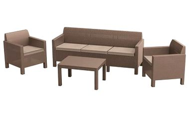 Ratanový nábytek Allibert Orlando 3 Seat Sofa cappuccino + Doprava zdarma