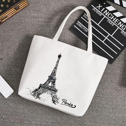 Textilní taška v bílé barvě s moderními motivy