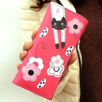 Dámská peněženka s kočičkou a kvítky