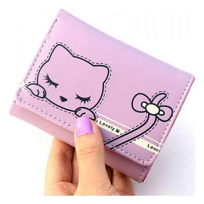 Malá dámská peněženka se spící kočičkou