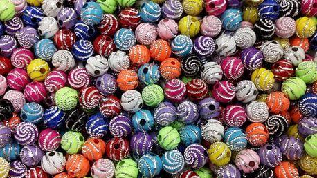 Zdobené akrylové korálky - 13 barev
