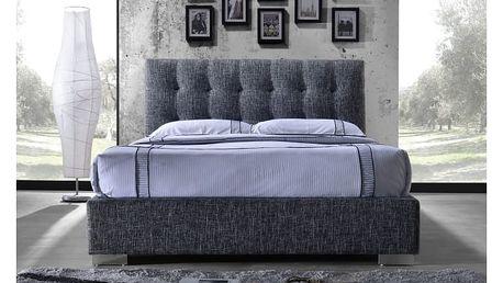 Tempo Kondela | Manželská postel s roštem, 160x200, tmavě šedá látka, Ragnar