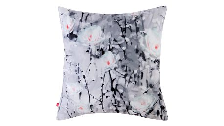 Polštář CATKINS šedá 45x45 cm motiv květy HOME & YOU Varianta: Povlak na polštář s antialergickou prošívanou výplní, 45x45 cm