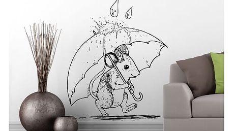 Samolepka na zeď - Myška s deštníkem