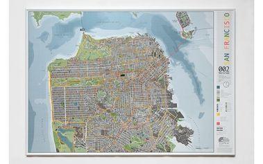 Mapa San Francisca Street Map, 100x70cm