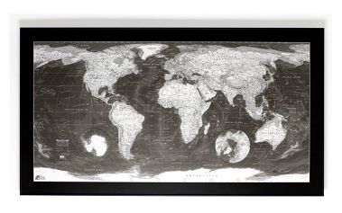 Mapa světa Monochrome World Map, 130x72cm