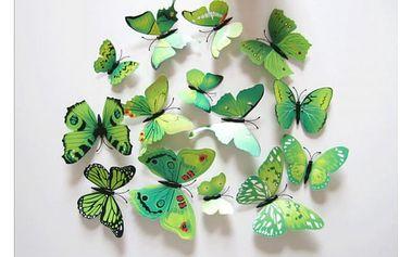 Samolepky zelených 3D motýlů na zeď - dodání do 2 dnů