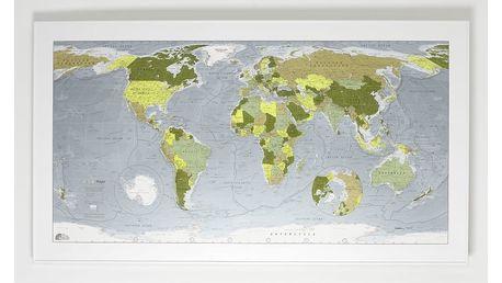 Zelená mapa světa Colour Map, 130x72cm
