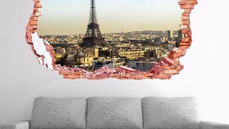 Samolepka na zeď - Otvor s výhledem na Paříž - dodání do 2 dnů