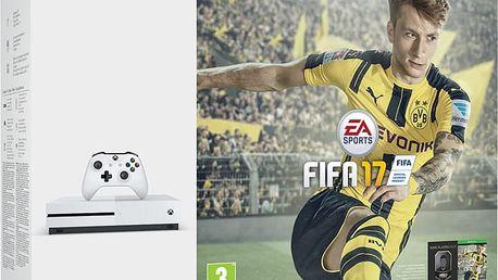 XBOX ONE S, 1TB, bílá + FIFA 17 - 234-00032 + Gamepad Microsoft, bezdrátový, černý v ceně 1700 kč