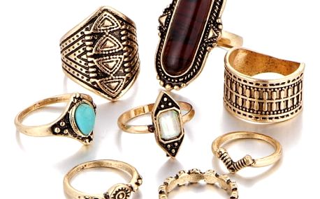 Sada osmi vintage prstýnků - 2 barvy