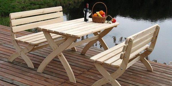 Tradgard STRONG 2722 Zahradní dřevěný stůl přírodní FSC3