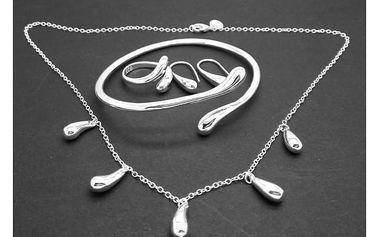 Elegantní sada šperků ve stříbrné barvě - dodání do 2 dnů