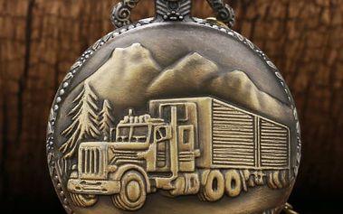 Vintage kapesní hodinky s motivem kamionu - dodání do 2 dnů