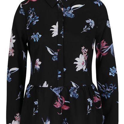 Černá halenka s potiskem květin Miss Selfridge