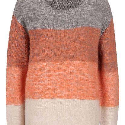 Krémovo-oranžový žíhaný svetr VILA Keny