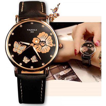 Dámské náramkové hodinky s ozdobnými motýlky a květinou