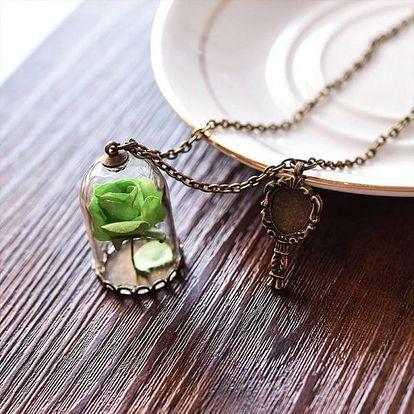 Romantický náhrdelník s přívěskem růže a zrcátka