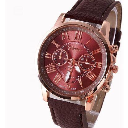 Elegantní dámské hodinky Geneva - hnědá barva - dodání do 2 dnů