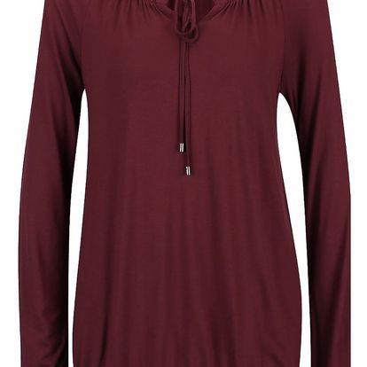 Vínové dámské tričko s dlouhým rukávem a zavazováním u krku s.Oliver