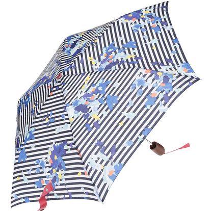 Krémovo-modrý pruhovaný deštník Tom Joule Brolly
