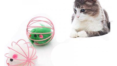 Myš v kleci - hračka pro kočky (2 ks)