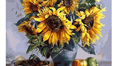 Bezrámový nedokončený obraz 40 x 50 cm - Váza se slunečnicemi