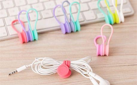 Silikonová spona na kabely 2 kusy - 7 barev