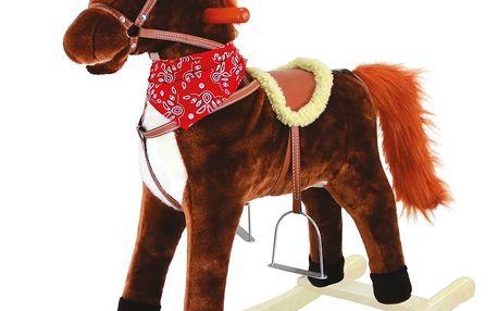 Bino Houpací kůň plyš, střední, tm.hnědý