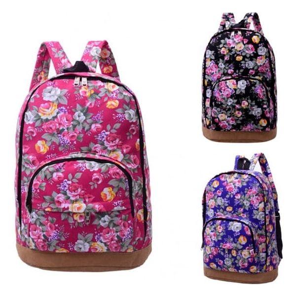 Módní plátěný batoh s pestrým květinovým potiskem