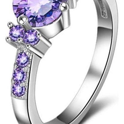 Dámský prstýnek s fialovými kamínky