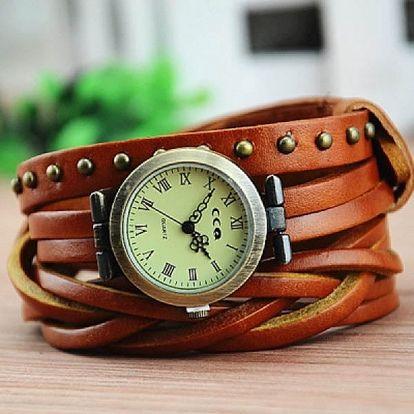 Koženkové hodinky s vícebarevným páskem - tmavě hnědá - dodání do 2 dnů