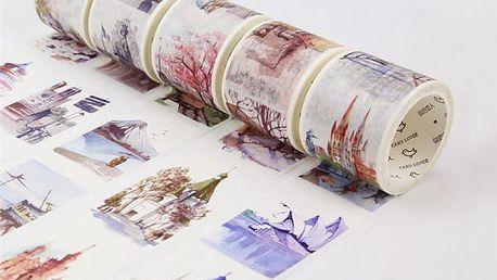 Dekorační washi páska - 18 variant s motivy zemí světa
