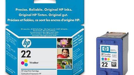 Inkoustová náplň HP No. 22, 22, 5ml, 138 stran - originální (C9352AE) červená/modrá/žlutá