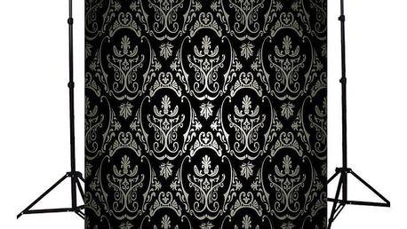 Ateliérové fotopozadí 2,1 x 1,5 m - Černá stěna s ornamenty ve stříbrné barvě